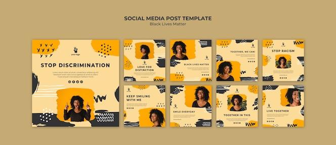 Modelo de postagem - vidas negras importam mídias sociais