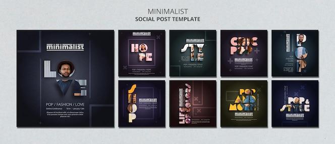 Modelo de postagens criativas minimalistas do instagram