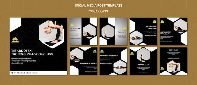 Modelo de postagens de aulas de ioga em mídias sociais
