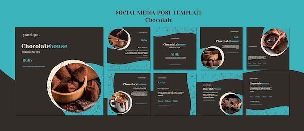 Modelo de postagens de casa de chocolate