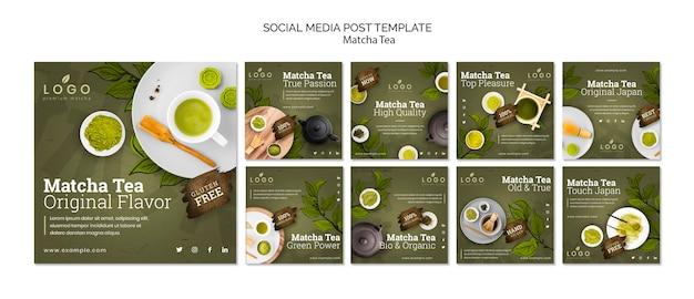 Modelo de postagens de chá matcha