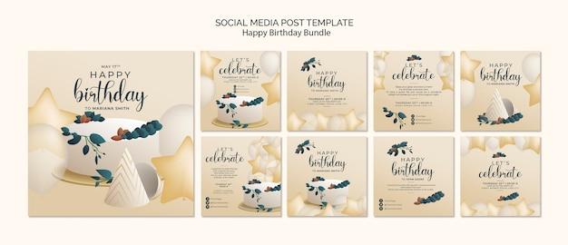 Modelo de postagens de feliz aniversário