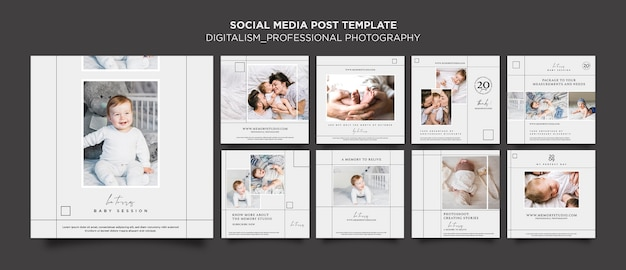 Modelo de postagens de fotografia profissional