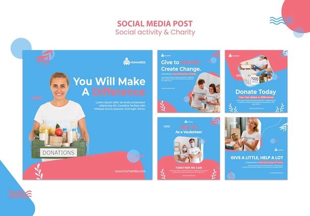 Modelo de postagens de instagram de atividades sociais e de caridade