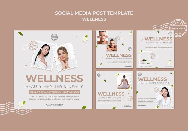 Modelo de postagens de instagram de bem-estar com foto