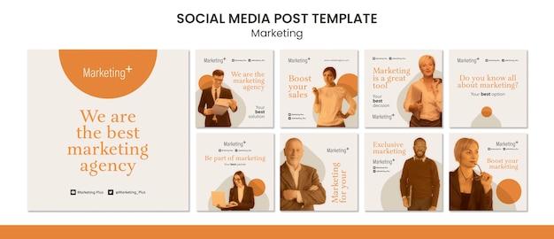 Modelo de postagens de instagram de marketing com foto
