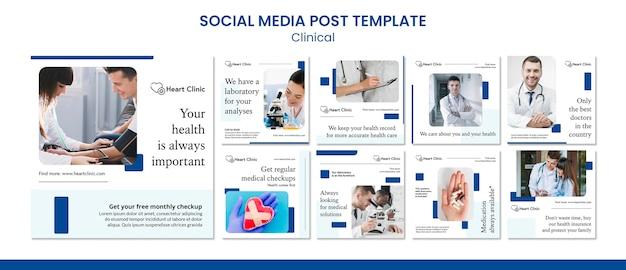 Modelo de postagens de mídia social clínica
