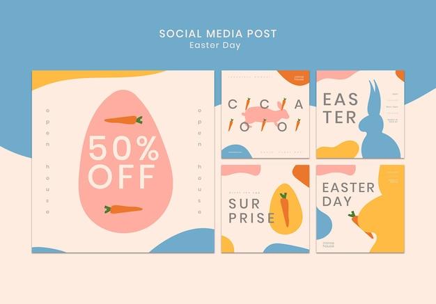 Modelo de postagens de mídia social da páscoa