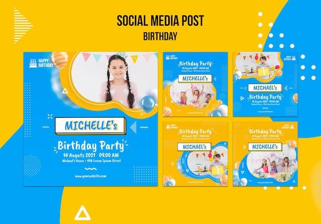 Modelo de postagens de mídia social de aniversário com foto