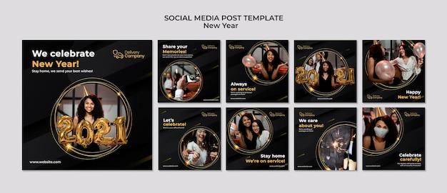 Modelo de postagens de mídia social de ano novo