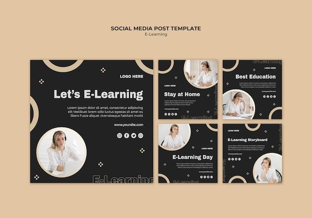 Modelo de postagens de mídia social de aprendizagem online