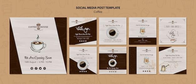 Modelo de postagens de mídia social de cafeteria