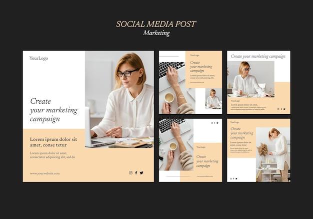 Modelo de postagens de mídia social de campanha de marketing