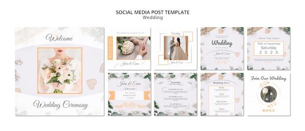 Modelo de postagens de mídia social de casamento