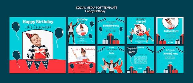 Modelo de postagens de mídia social de comemoração de aniversário