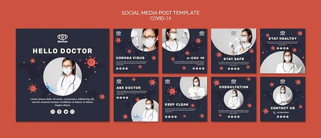 Modelo de postagens de mídia social de coronavírus com foto