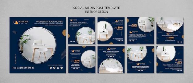 Modelo de postagens de mídia social de design de interiores