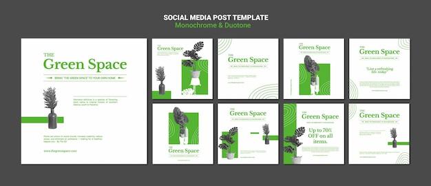 Modelo de postagens de mídia social de espaço verde
