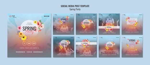 Modelo de postagens de mídia social de festa da primavera
