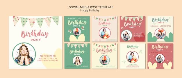 Modelo de postagens de mídia social de festa de aniversário com foto