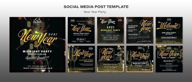 Modelo de postagens de mídia social de festa de ano novo