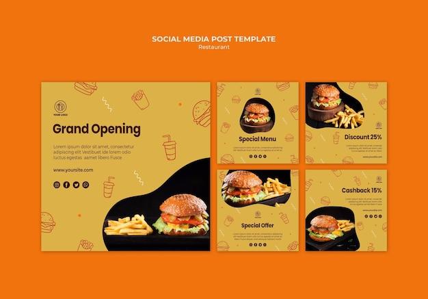 Modelo de postagens de mídia social de hamburguerias