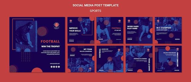 Modelo de postagens de mídia social de jogador de futebol