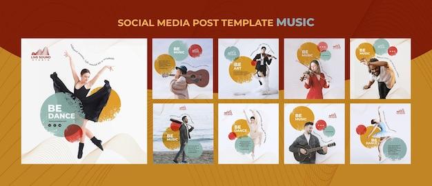Modelo de postagens de mídia social de música