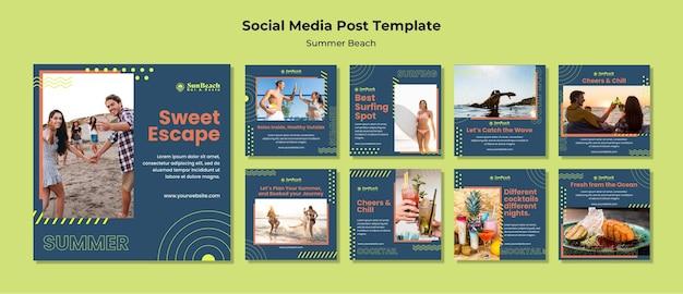 Modelo de postagens de mídia social de praia de verão