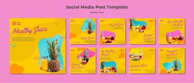 Modelo de postagens de mídia social de suco saudável