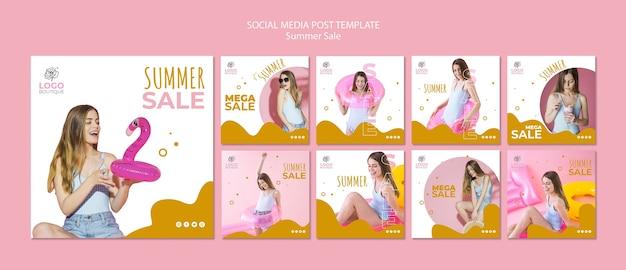 Modelo de postagens de mídia social de venda verão