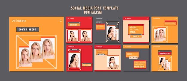 Modelo de postagens de mídia social digital