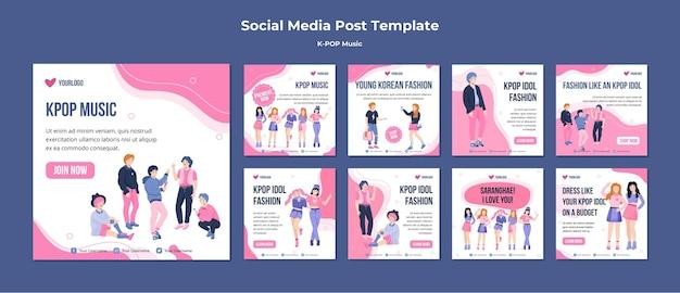 Modelo de postagens de mídia social k-pop
