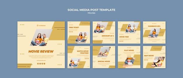 Modelo de postagens de mídia social no horário do filme