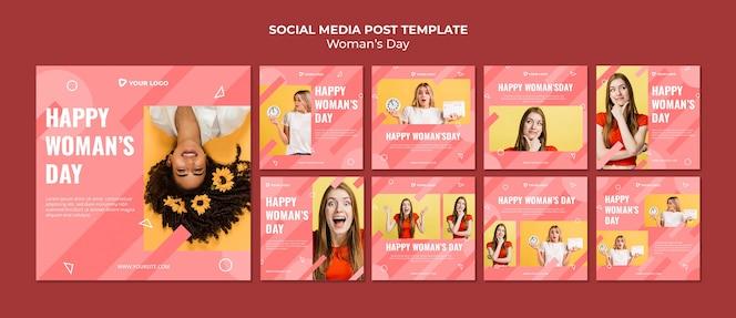 Modelo de postagens de mídia social para o dia da mulher