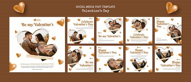 Modelo de postagens de mídia social para o dia dos namorados