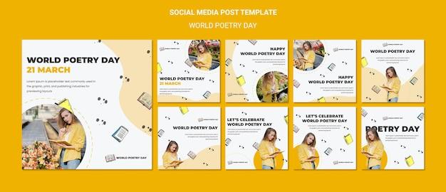 Modelo de postagens de mídia social para o dia mundial da poesia