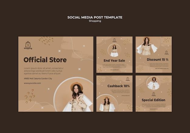 Modelo de postagens de mídia social para venda na loja