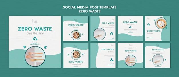 Modelo de postagens de mídia social zero waster