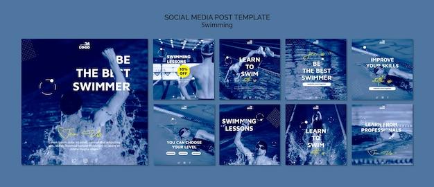 Modelo de postagens de mídias sociais de aulas de natação