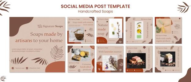 Modelo de postagens de sabão caseiro em mídia social