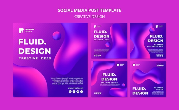 Modelo de postagens do instagram com design fluido