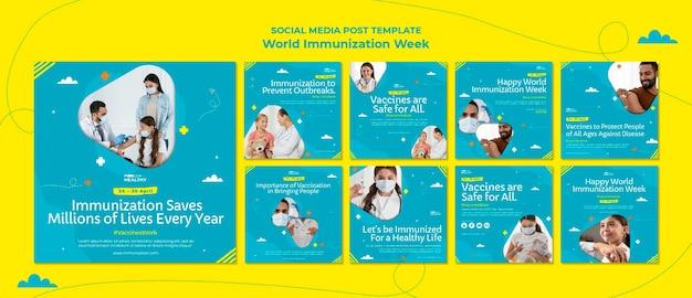 Modelo de postagens do instagram da semana mundial de vacinação