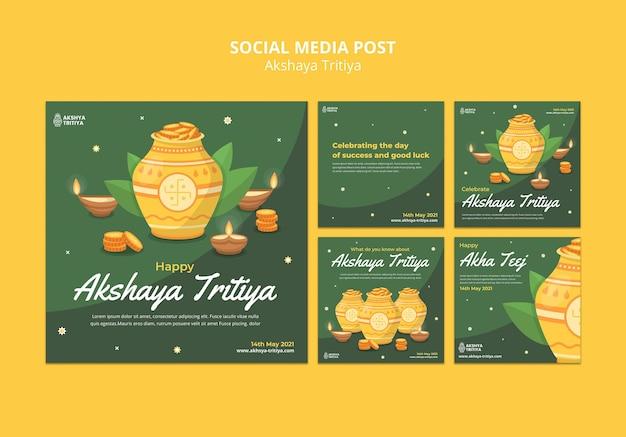 Modelo de postagens do instagram de akshaya tritiya