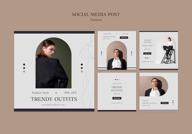 Modelo de postagens do instagram de moda com foto