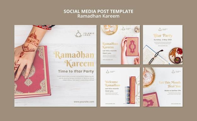 Modelo de postagens do instagram do ramadã com foto