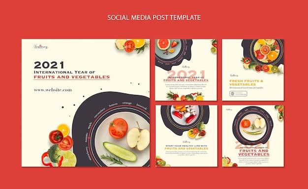 Modelo de postagens do instagram para o ano de frutas e vegetais