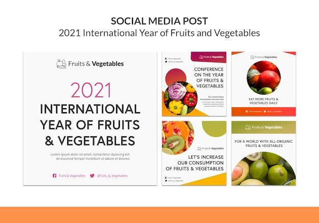 Modelo de postagens do instagram para o ano internacional de frutas e vegetais