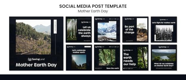 Modelo de postagens do instagram para o dia da mãe terra Psd grátis