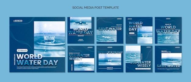 Modelo de postagens do instagram para o dia mundial da água com foto